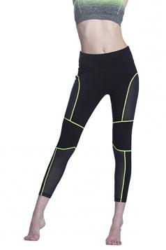 Women Fishnet Patchwork Slimming Sports Legging Green