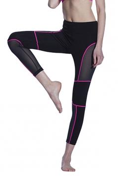 Women Fishnet Patchwork Slimming Sports Legging Red