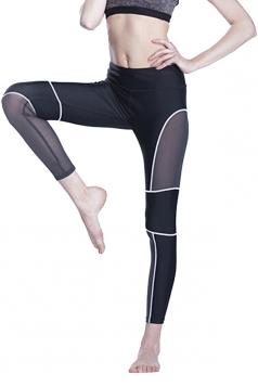Women Fishnet Patchwork Slimming Sports Legging White