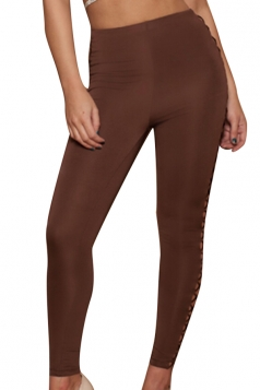 Women Sexy Sideways Hollow Out Lace-Up Slimming Pants Brown