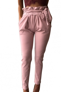 Women Stringy Selvedge Elastic Waist Harem Pants With Belt Pink