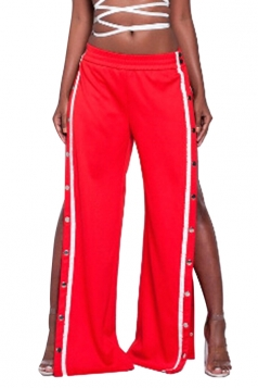 Women Elastic Waist Split Rivet Loose Pants Red