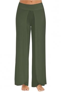 Women Wide Legs Side Slits Yoga Pants Army Green