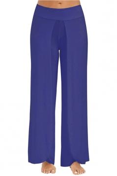 Women Wide Legs Side Slits Yoga Pants Blue