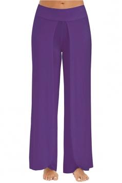 Women Wide Legs Side Slits Yoga Pants Purple