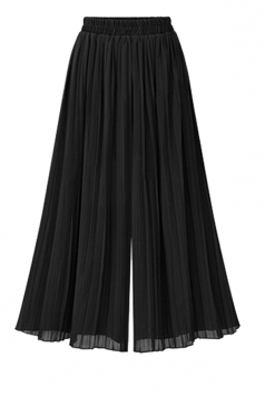Women Casual Plus Size Pleated Loose Wide Legs Pants Black