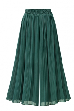 Women Casual Plus Size Pleated Loose Wide Legs Pants Green