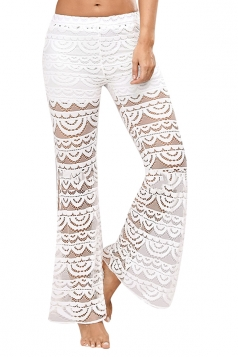 Women Sexy See Through Lace Patchwork Split Flare Legs Pants White
