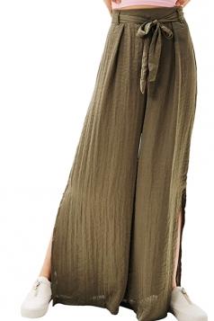 Women Casual Side Split Elastic Waist Wide Legs Pants Army Green