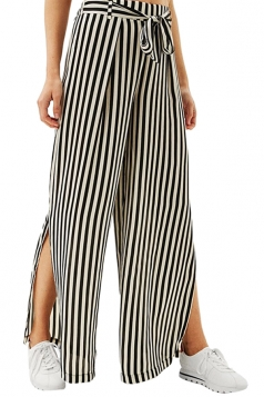 Women Casual Side Split Elastic Waist Wide Legs Pants Black And White