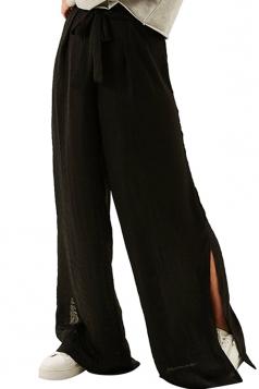 Women Casual Side Split Elastic Waist Wide Legs Pants Black
