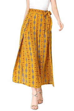 Women Casual Side Split Wide Legs Leisure Pants Yellow