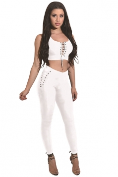 Women Sexy Lace-Up Crop Top&High Waist Tight Pants 2Pcs Suit White