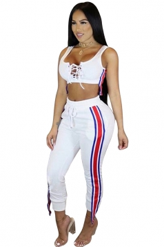 Women Sexy Lace-Up Crop Top Draw String Stripes Sweatshirt Suit White