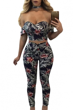 Women Sexy Off Shoulder Floral Printed Zipper Sweatshirt Suit White