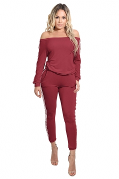Women Fashion Off Shoulder Side Stripes Two Pieces Suit Ruby