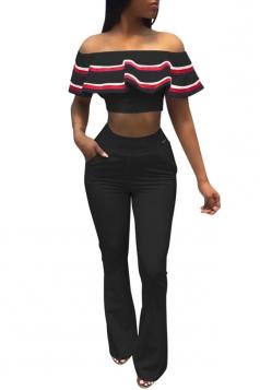 Women Off Shoulder Ruffle Crop Top High Waist Flare Legs Suit Black
