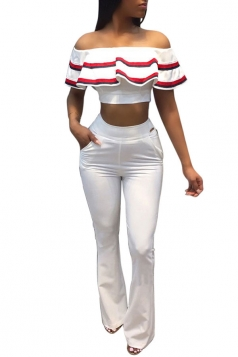 Women Off Shoulder Ruffle Crop Top High Waist Flare Legs Suit White