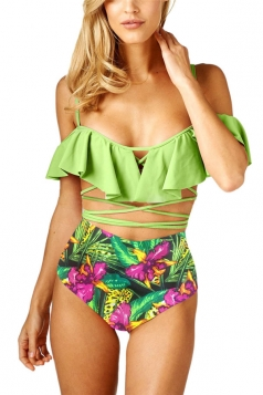 Womens Sexy Ruffle Printed Straps Bandage High Waist Bikini Green