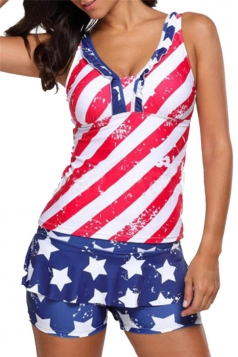Womens V-Neck Flag Printed Ruffled Two Pieces Tankini Red