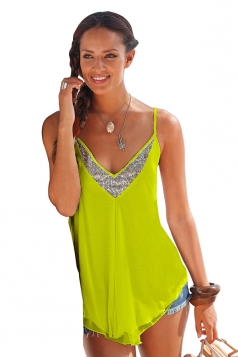 Women Sexy Strap Sequin V Neck Loose Camisole Top Yellow