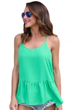 Women Strap Pleated Chiffon Camisole Top Green