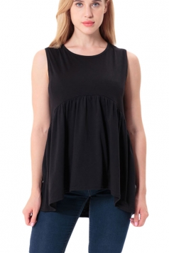 Women Casual Crew Neck Sleeveless Pleated Camisole Top Black