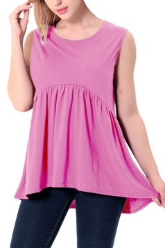 Women Casual Crew Neck Sleeveless Pleated Camisole Top Rose Red