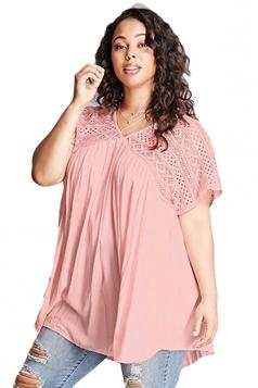 Women Plus Size Lace Patchwork Loose V Neck T-Shirt Pink