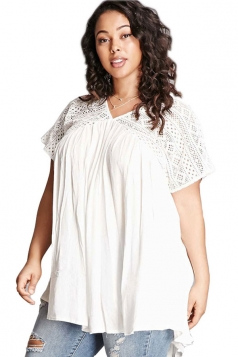 Women Plus Size Lace Patchwork Loose V Neck T-Shirt White