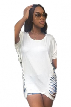 Women Fashion Waist Hollow Out Crew Neck T-Shirt White