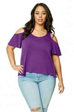 Women Plus Size Cold Shoulder Ruffled T-Shirt Purple