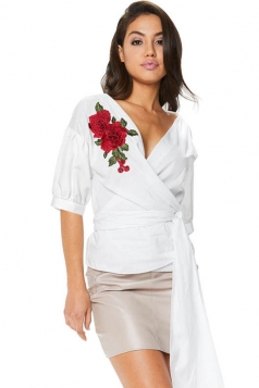 Women V Neck Embroidered Belt Blouse White