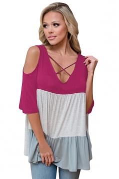 Women Color Block Criss Cross V Neck Cold Shoulder T-Shirt Rose Red