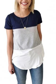 Women Casual Strips Crew Neck T-Shirt Navy Blue