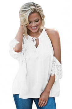 Women Lace Detail Over Sleeve Tank Top White