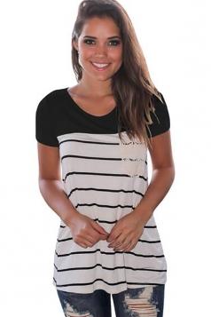 Women Splice Striped Short Sleeve T-Shirt Black