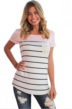 Women Splice Striped Short Sleeve T-Shirt Pink