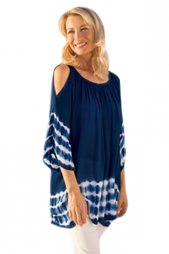 Women Cold Shoulder Pleated Half Sleeve Printed T-Shirt Blue