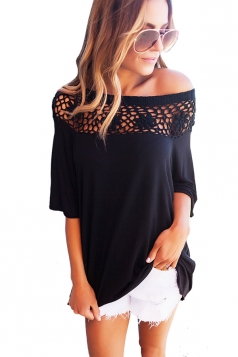 Women Sexy Lace Patchwork Hollow Out Half Sleeve Blouse Black