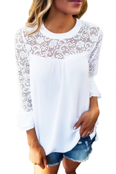 Women Lace Patchwork Chiffon T-Shirt White