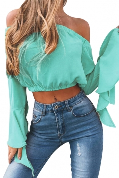 Women Sexy Off Shoulder Long Flare Sleeve Crop Top Turquoise