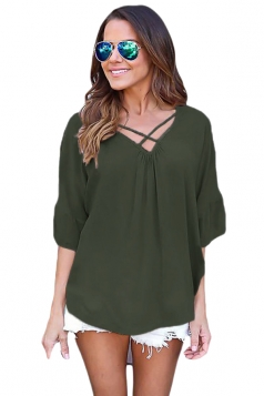 Women Plain Cross Loose Fit Blouse Green