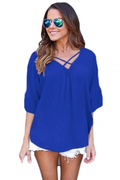 Women Plain Cross Loose Fit Blouse Sapphire Blue