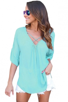 Women Plain Cross Loose Fit Blouse Turquoise