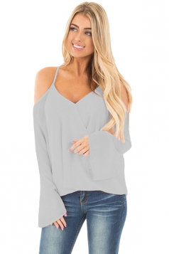 Women Cold Shoulder Overlap V Neck Long Sleeve Blouse Gray