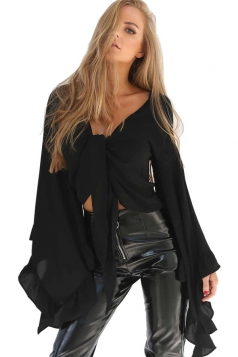 Women Sexy Deep V-Neck Bandage Flare Sleeve Crop Top Black