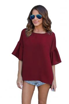 Women Casual Flare Sleeve High Low Solid Color Blouse Ruby