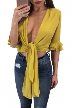 Women Sexy Deep V Ruffle Half Sleeve Bandage Blouse Yellow