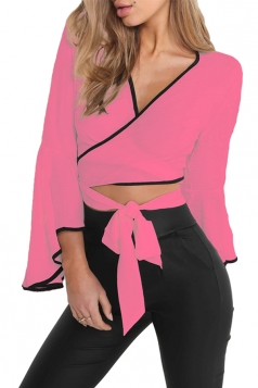 Women Sexy Deep V Flare Sleeve Cross Bandage Blouse Watermelon Red